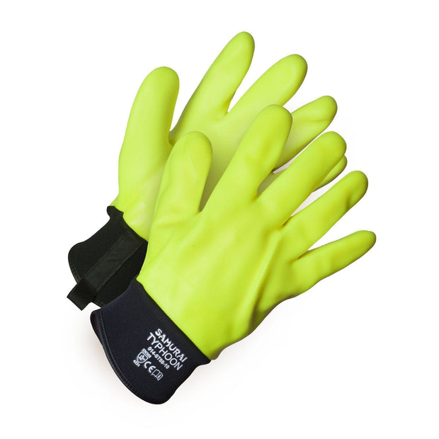"""Samurai Typhoon""  Waterproof, Thermal Insulated Full PVC Coated Chemical Resistant Work Gloves - Hi Vis Safety"
