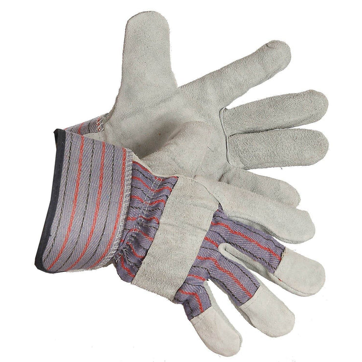"""Split Shift"" Fleece Lined Split Leather Work Gloves - Hi Vis Safety"