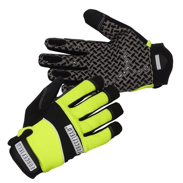 """Sticky Glove"" Mechanic's Glove with Silicone Tread Grip - Hi Vis Safety"