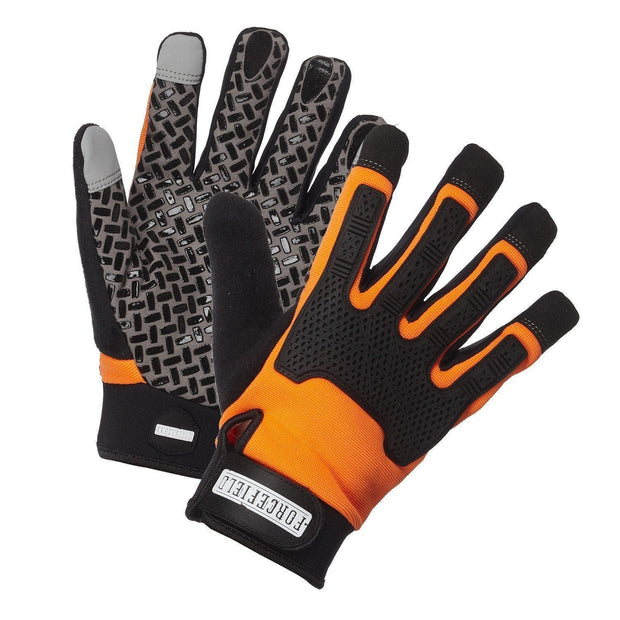 """Sticky Glove"" Silicone Tread Grip Mechanic's Glove with TPR Knuckle Bumper - Hi Vis Safety"
