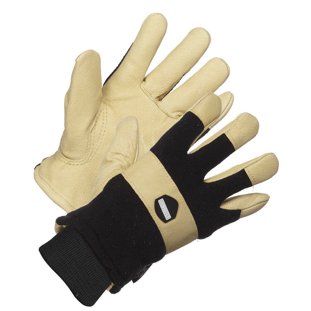 """Storm Force"" Waterproof and Thinsulate lined, Polar Fleece Back, Leather Palm Work Glove - Hi Vis Safety"
