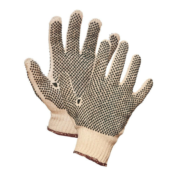 String Knit Work Gloves with PVC Dots on Both Sides - Hi Vis Safety