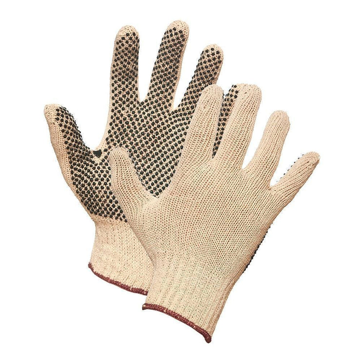 String Knit Work Gloves with PVC Dots on Palm - Hi Vis Safety