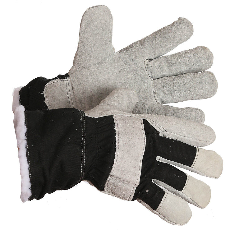 "The ""Arnold"" Pile Lined Split Leather Work Glove - Hi Vis Safety"
