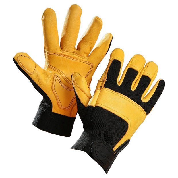 "The ""Zinger"" & ""Winter Zinger""  Deerskin Leather Mechanic's Glove - Hi Vis Safety"