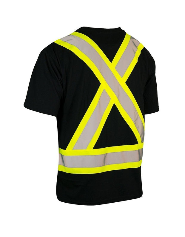 Ultrasoft Hi Vis Crew Neck Short Sleeve Safety Tee Shirt with Chest Pocket