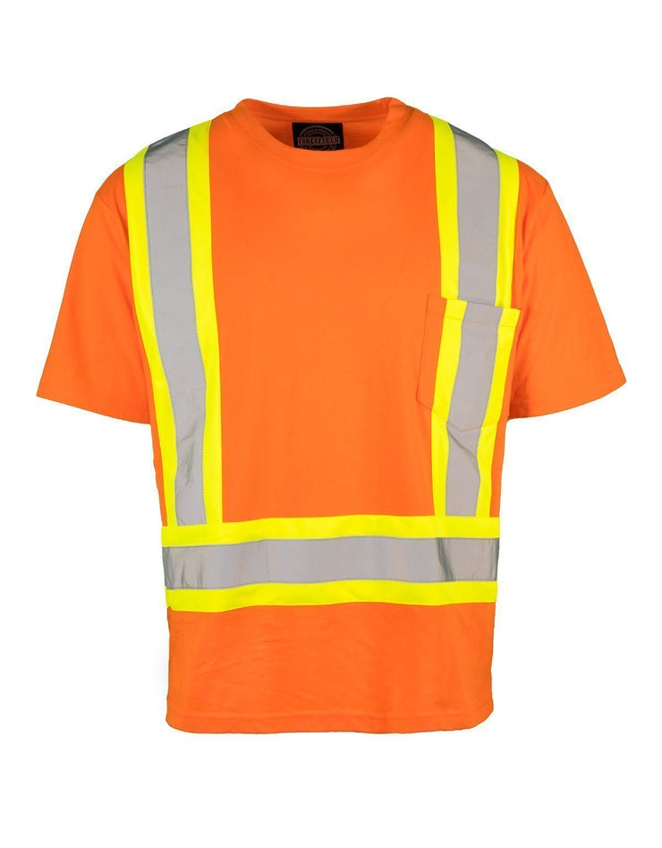 Ultracool Poly/Cotton Crew Neck Short Sleeve Safety Tee Shirt with Chest Pocket - Hi Vis Safety