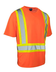 Ultrasoft Hi Vis Crew Neck Short Sleeve Safety Tee Shirt with Chest Pocket - Hi Vis Safety