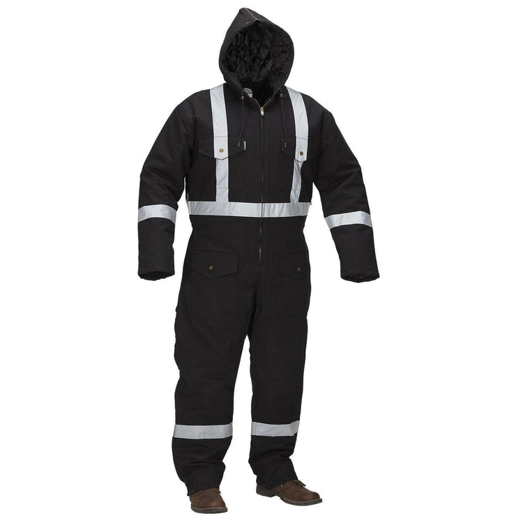 Winter Lined Black Cotton Canvas Coverall with Reflective Tape - Hi Vis Safety