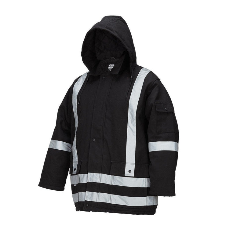 Winter Lined Black Cotton Canvas Parka with Reflective Stripes - Hi Vis Safety