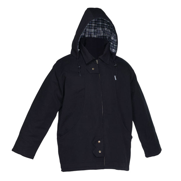 Winter Lined Black Cotton Canvas Parka - Hi Vis Safety