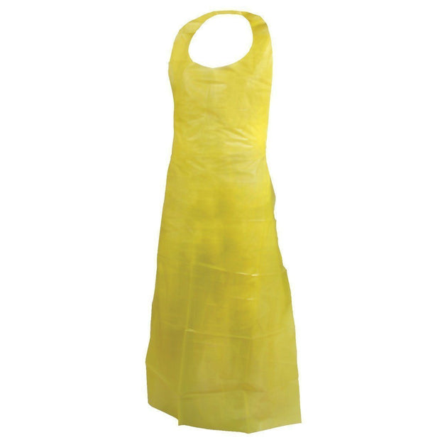 Yellow Disposable Polyethylene Apron (Case of 250 Aprons) - Hi Vis Safety