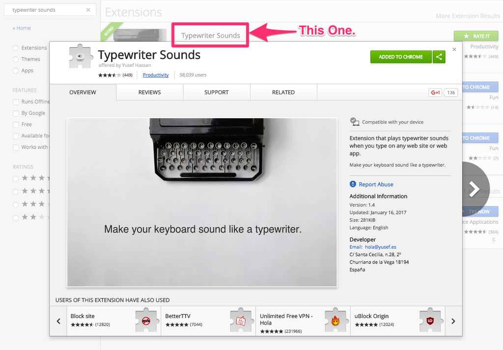 The Good Google Chrome Typewriter Sound.