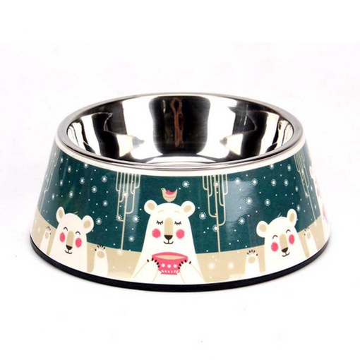 dog bowl in stand