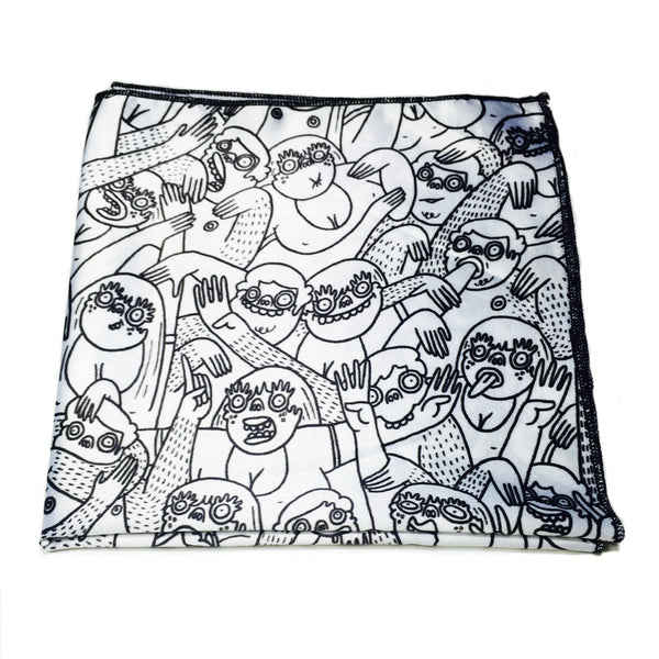 Black & White Doodle Art by Lauren Asta - Pocket Square