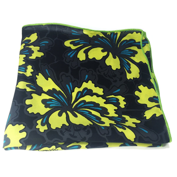 Black & Yellow Floral - Pocket Square