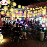 10.5 Ft. 20 Led Paper Lanterns String Lights Battery Operated Chinese Decorative Lantern Fairy String Lights For Bedroom Indoor Outdoor