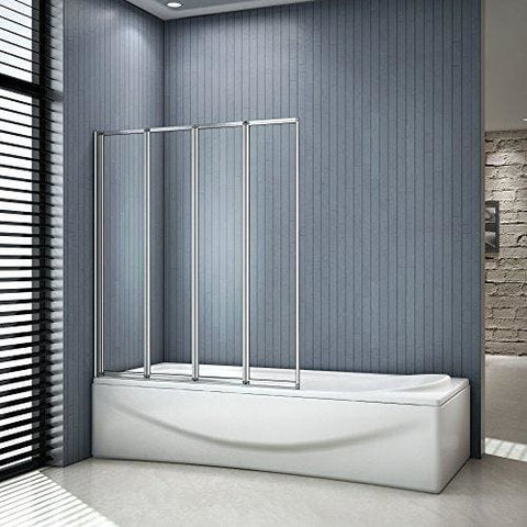 1000X1400Mm 4 Fold Folding Bath Shower Screen Safety Glass Panel