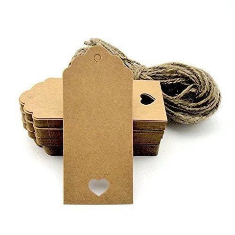 100Pcs Gift Tags/kraft Hang Tags With Free Cut Strings For Gifts Crafts And Price Tags Scalloped Tag Style Color Rectangular With Heart+20M