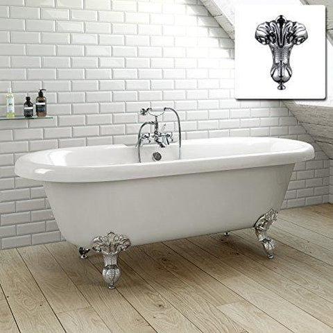 1700Mm Traditional Freestanding Bathtub Roll Top White Gloss Bath + Feet