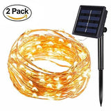 [2 Pack] Bolweo Solar Powered String Lights Solar Fairy Lights Warm White 16.4Ft 50Leds Waterproof Copper Wire Lighting For Indoor Outdoor