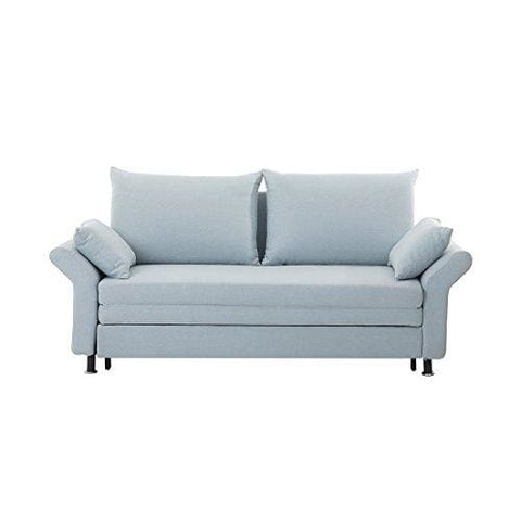 2 Seater Fabric Sofa Bed Light Blue Exeter