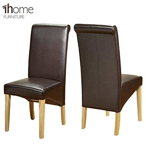 2 X 1home Leather Dining Chair W Oak Finish Wood Legs Roll Top High Back Brown