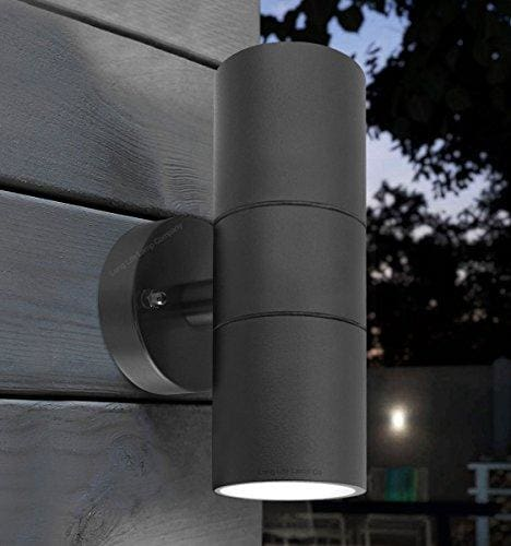 2X Black Stainless Steel Double Outside Wall Light LED Up Down Garden Wall Lamp