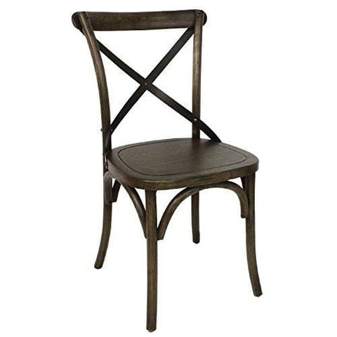 2X Bolero Wooden Dining Chair With Metal Cross Backrest 470Mm Restaurants Cafe