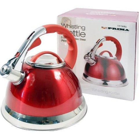 3.5L Red Prima Stainless Steel Whistling Kettle For Gas Electric Hobs New