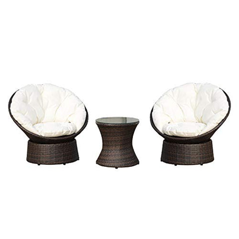 Outsunny Rattan Garden Furniture Set 3 PCs Bistro Set 2 Seater Swivel Egg Chairs & Round Table Aluminium Frame Wicker Weave Outdoor Patio Conservatory