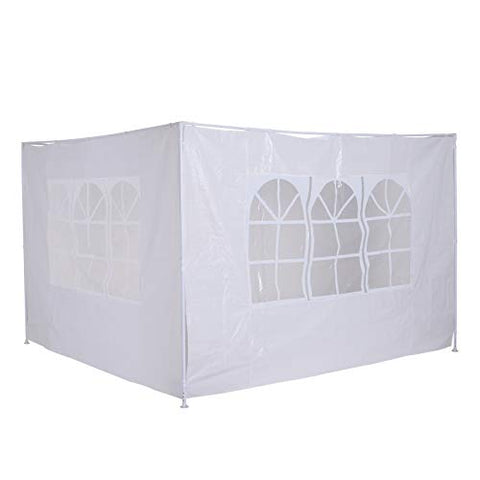 Outsunny 3m Canopy Gazebo Marquee Replacement Exchangeable Side Panel Wall Panels Walls (White)