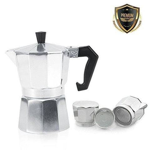 3/6/9/12 Cup Aluminium Espresso Maker Pot Coffee Mocha Espresso Stove For Office Home Silver 600Ml 12Tasses