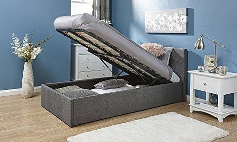 3Ft End Lift Ottoman Silver Grey Single Fabric End Lift Up Storage Bed