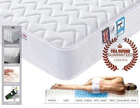 3Ft Single 3D Breathable Fabric Mattress With Pocket Springs And Memory Foam - 9-Zone Orthopaedic Mattress - 8.7-Inch - White