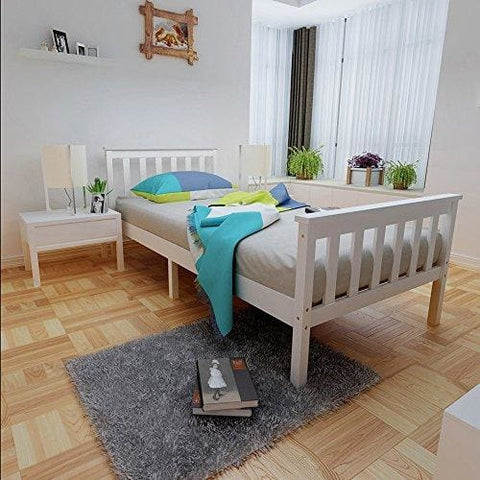 3Ft Wooden Single Bed Frame For Adult Kids Child Or Children Solid Pine Wood White
