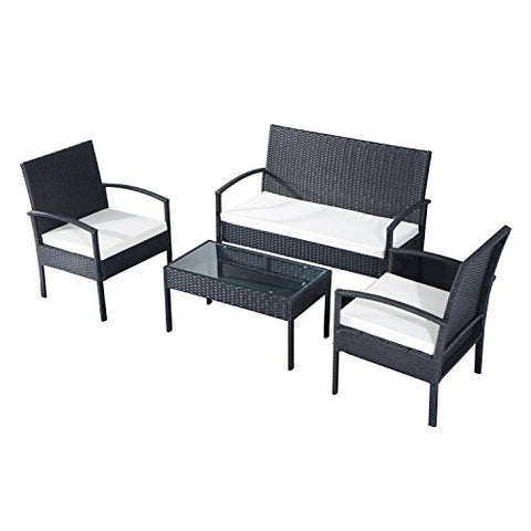 Outsunny Rattan Garden Furniture 4 PCs Sofa Set Outdoor Patio Wicker Weave Chairs Table Conservatory 4 Seaters Black