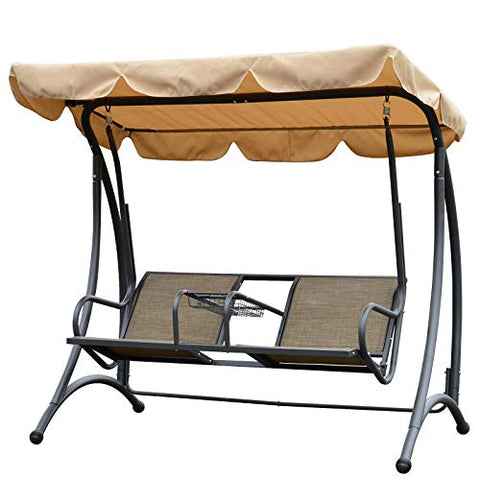 Outsunny Outdoor 2 Seater Swing Chair Porch Hammock Canopy Outdoor Cushioned Bench with Center Drink Tray Beige