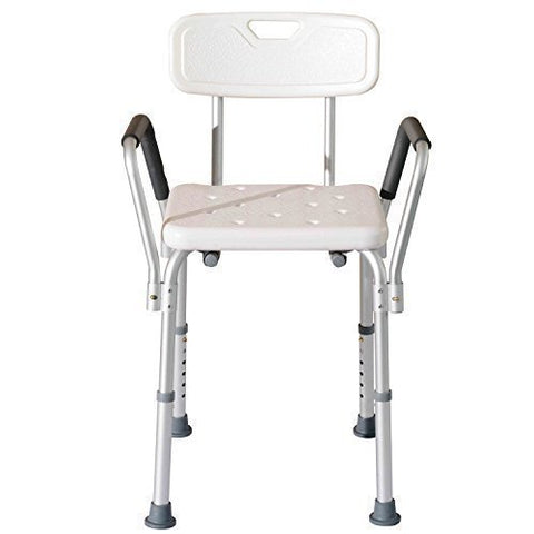 Bath/Shower Stool with Backrest and Arms Chair, Adjustable Height by Outsunny
