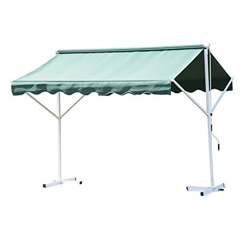 Outsunny 3 x 3m 2 Side Free Standing Manual Awning Canopy Patio Garden Outdoor Sun Shade Shelter w/Winding Handle (Green)