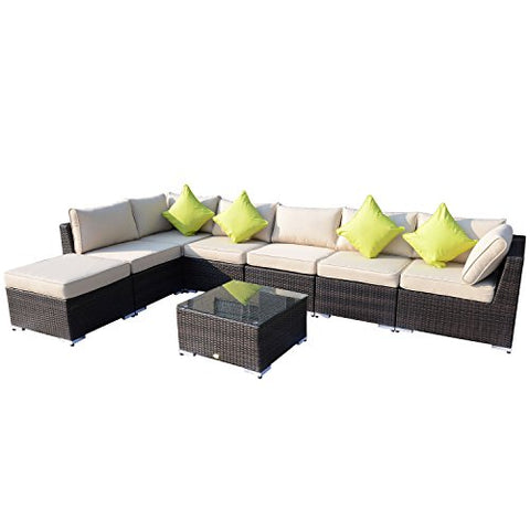 Outsunny 8PC RATTAN SOFA GARDEN FURNITURE ALUMINIUM OUTDOOR PATIO SET WICKER SOFA SET SEATER FIRE RESISTANT Sponge BROWN + Table Pillows Already Assembled