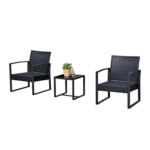 Outsunny 3PC Rattan Coffee Table and 2 Chairs Set Bistro Set Garden Yard Outdoor Patio Wicker Furniture