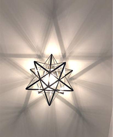 12 Inch Moravian Star Flush Mount Ceiling Light Fixture For Kitchen Island Living Room Bedroom Hallway Clear Glass Light Shade Led Bulb Included 30cm