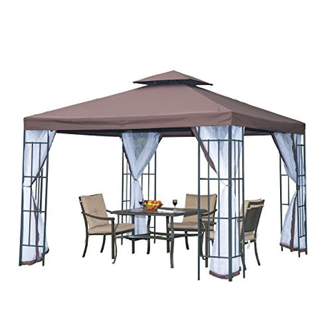 Outsunny 3m x 3m Gazebo Marquee Metal Party Tent Canopy Pavillion Patio Garden Shelter Steel Frame with mesh sidewall and Water strip Coffee