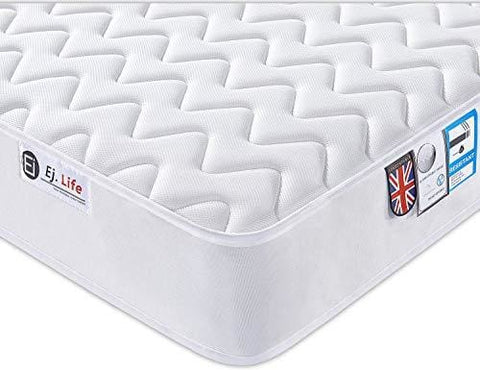 4Ft6 Double 3D Breathable Fabric Mattress With Pocket Springs And Memory Foam - 9-Zone Orthopaedic Mattress - 8.7-Inch - White