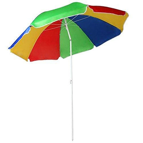 5.3Ft/1.6M Garden Beach Patio Tilting Tilt Multi Coloured Umbrella Parasol Sun Shade Protection Upf40