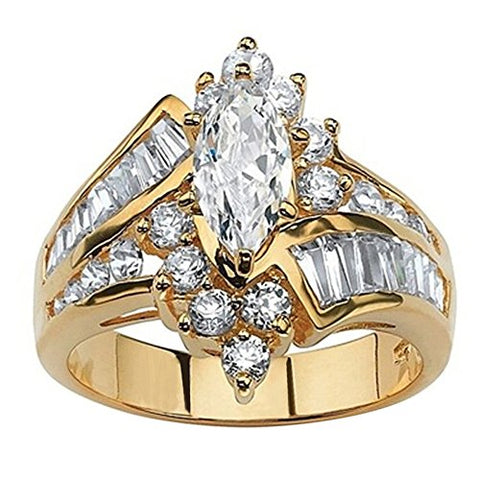 ADESHOP Novelty Jewellery, Fashion Hand Jewelry Cut Diamond Engagement Anniversary Ring Jewelry(Gold #7)