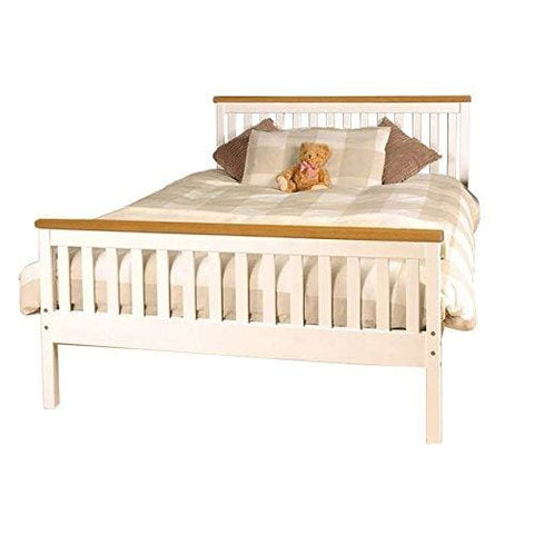 5Ft King Atlantis Style Wooden Pine Bed Frame In White With Caramel Bar