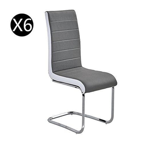 6X Premium Grey Leather Dining Chairs Padded High Back And Solid Chrome Legs With White Trim Side Contemporary Retro Look Kitchen Room