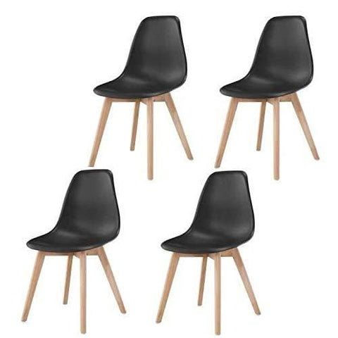 Ace4Chairs Plastic Wood Leg Dining Chairs Scandinavian Style (Black Set Of 4)